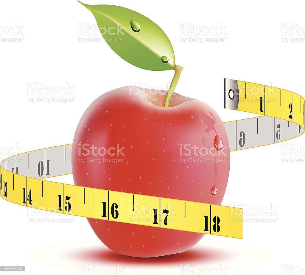 Apple with tape measure - VECTOR royalty-free stock vector art