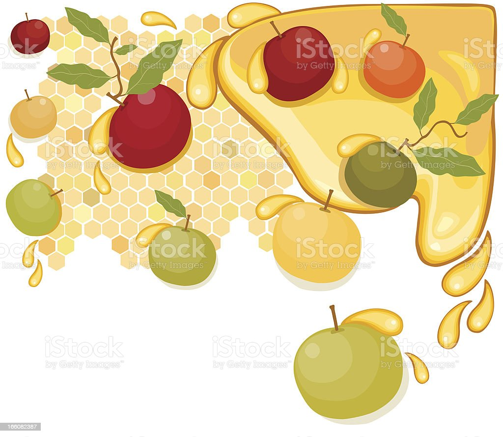 Apples And Honey, Rosh HaShanah vector art illustration