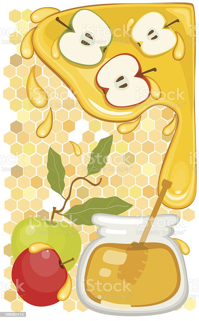 Apples and Honey royalty-free stock vector art