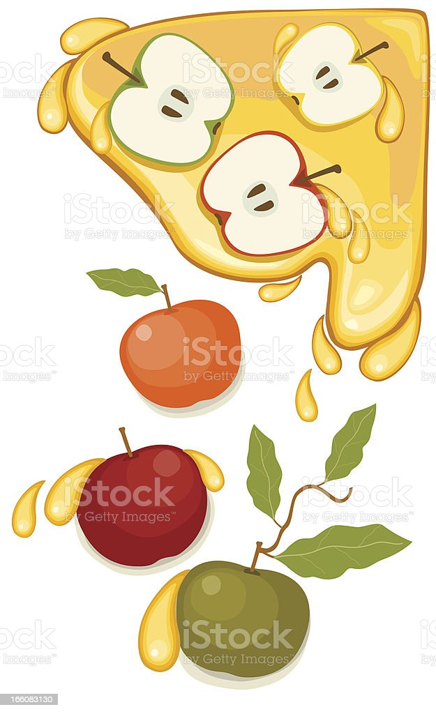 Apples and Honey vector art illustration