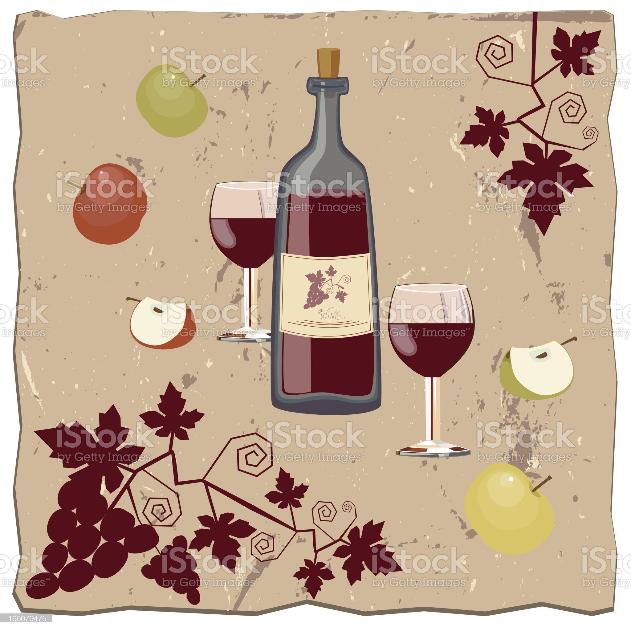 Apples, Bottle Of Wine and Vine royalty-free stock vector art