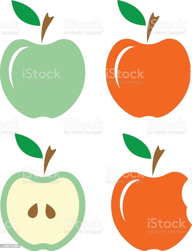 Apples. Set vector art illustration