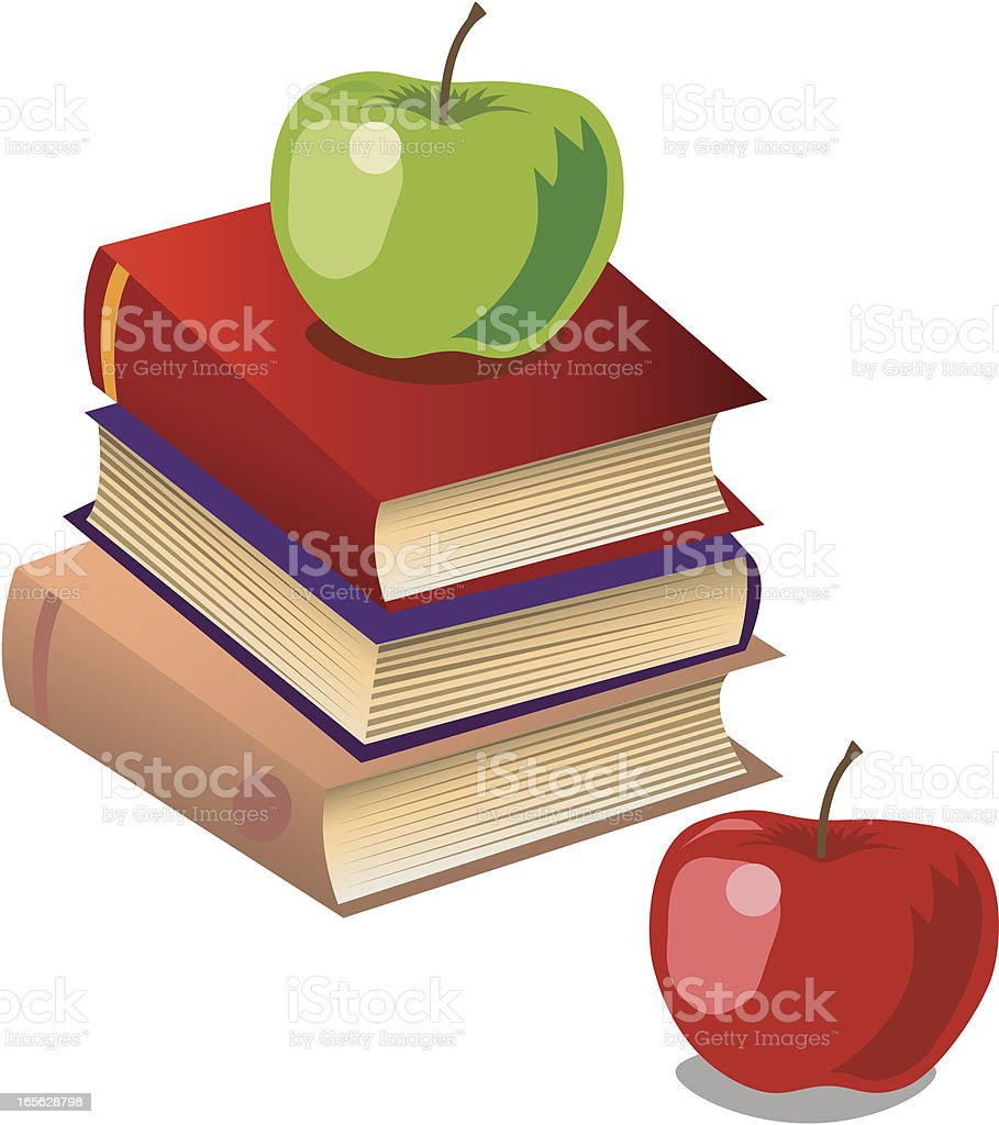 Apples with Books royalty-free stock vector art