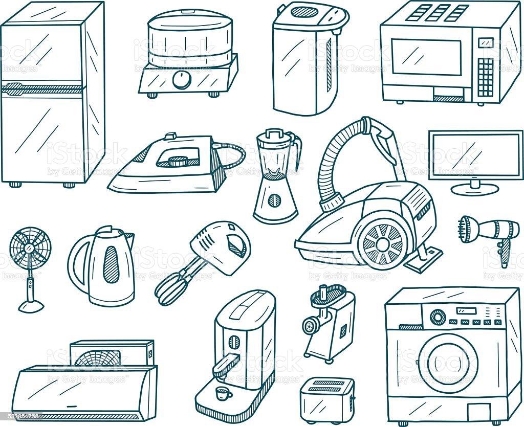 Appliances Doodles vector art illustration