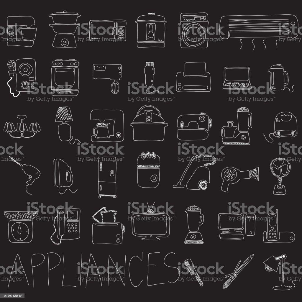 Appliances hand drawn vector art illustration