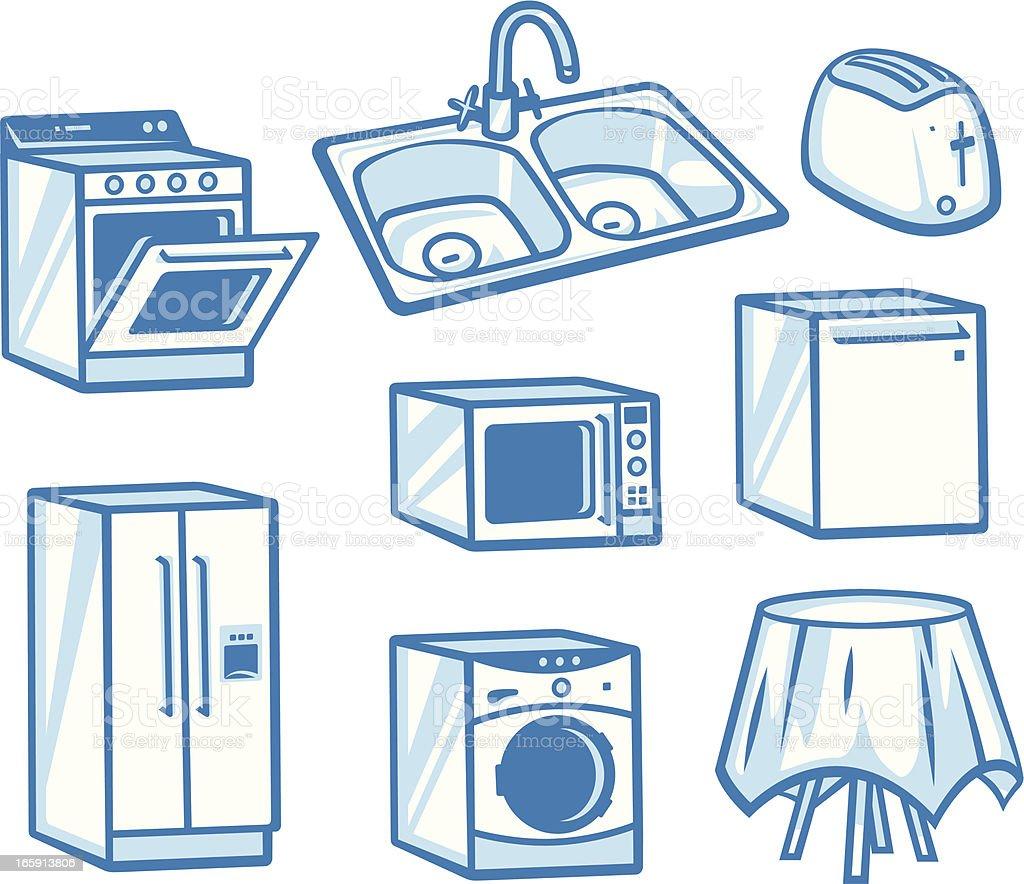 Appliances vector art illustration