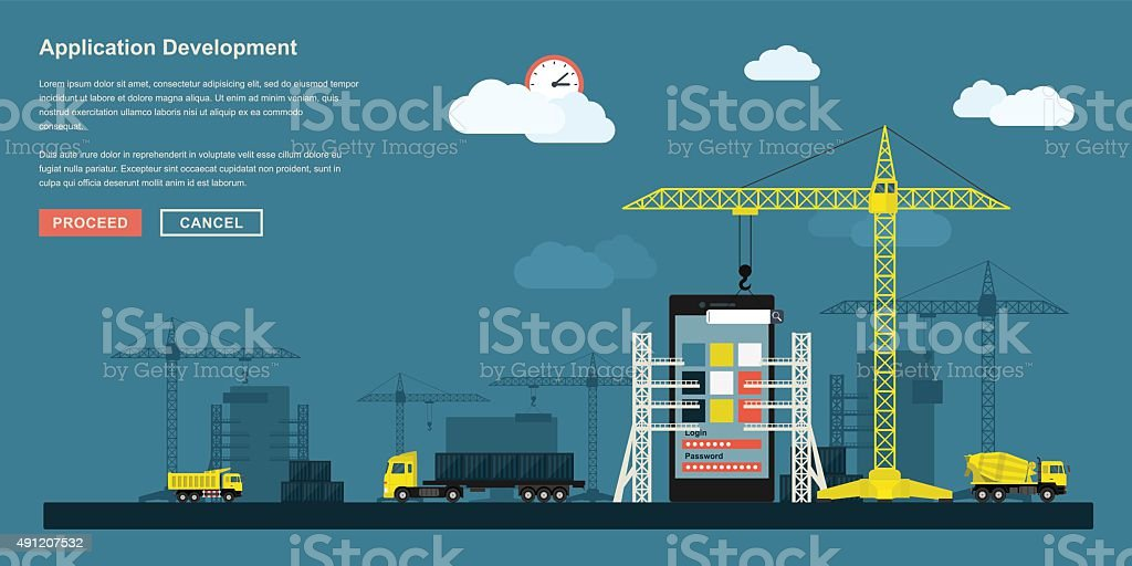 application development vector art illustration
