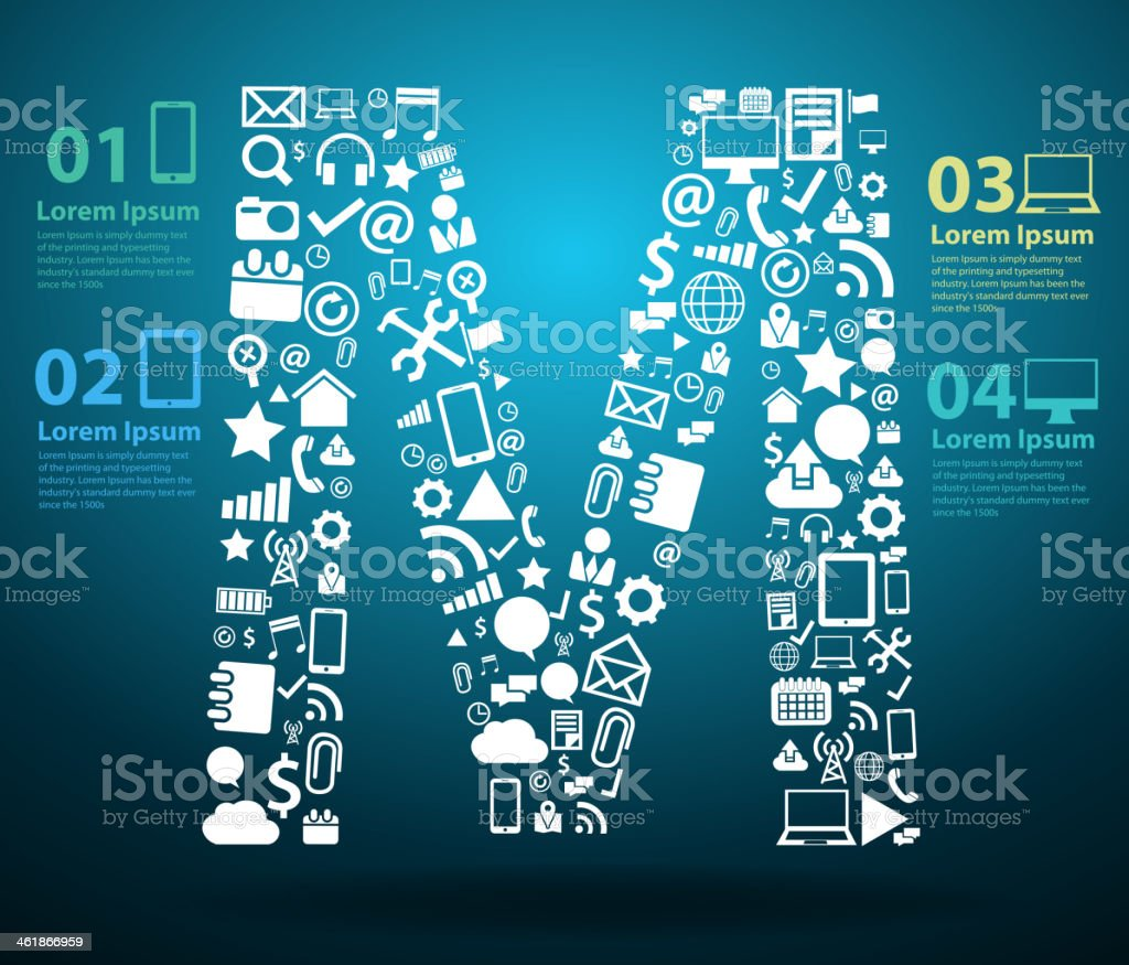 Application icons alphabet letters M design royalty-free stock vector art