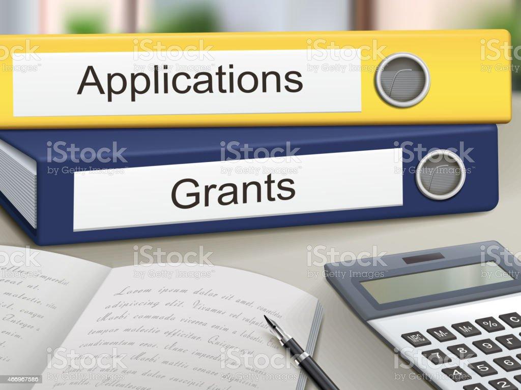 applications and grants binders vector art illustration