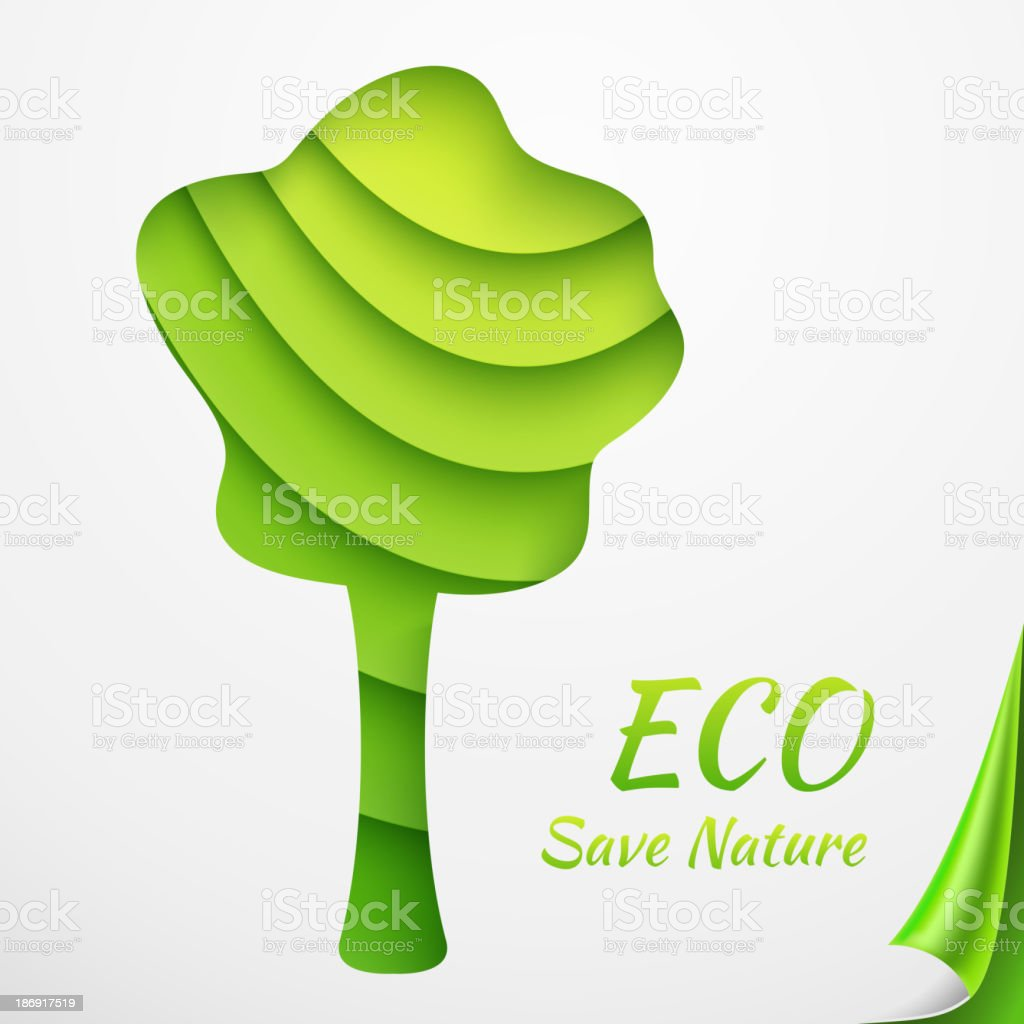 Applique tree on sheets of green papers with curled corner. royalty-free stock vector art