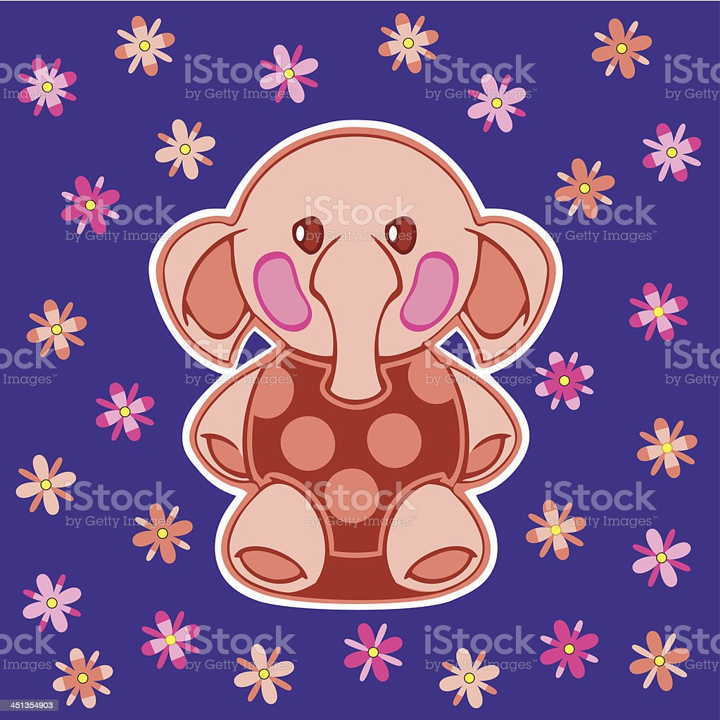 appliqued with cartoon elephant royalty-free stock vector art