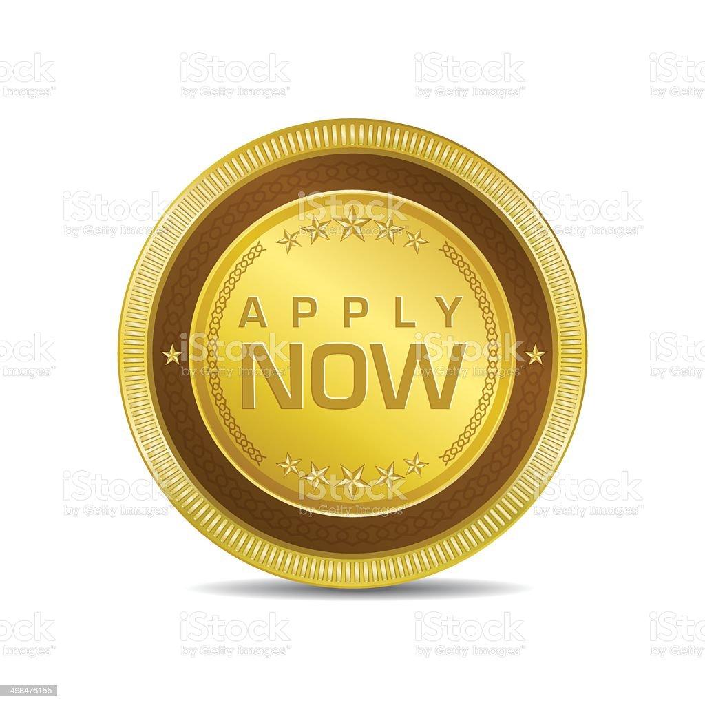 Apply Now Glossy Shiny Circular Vector Button vector art illustration