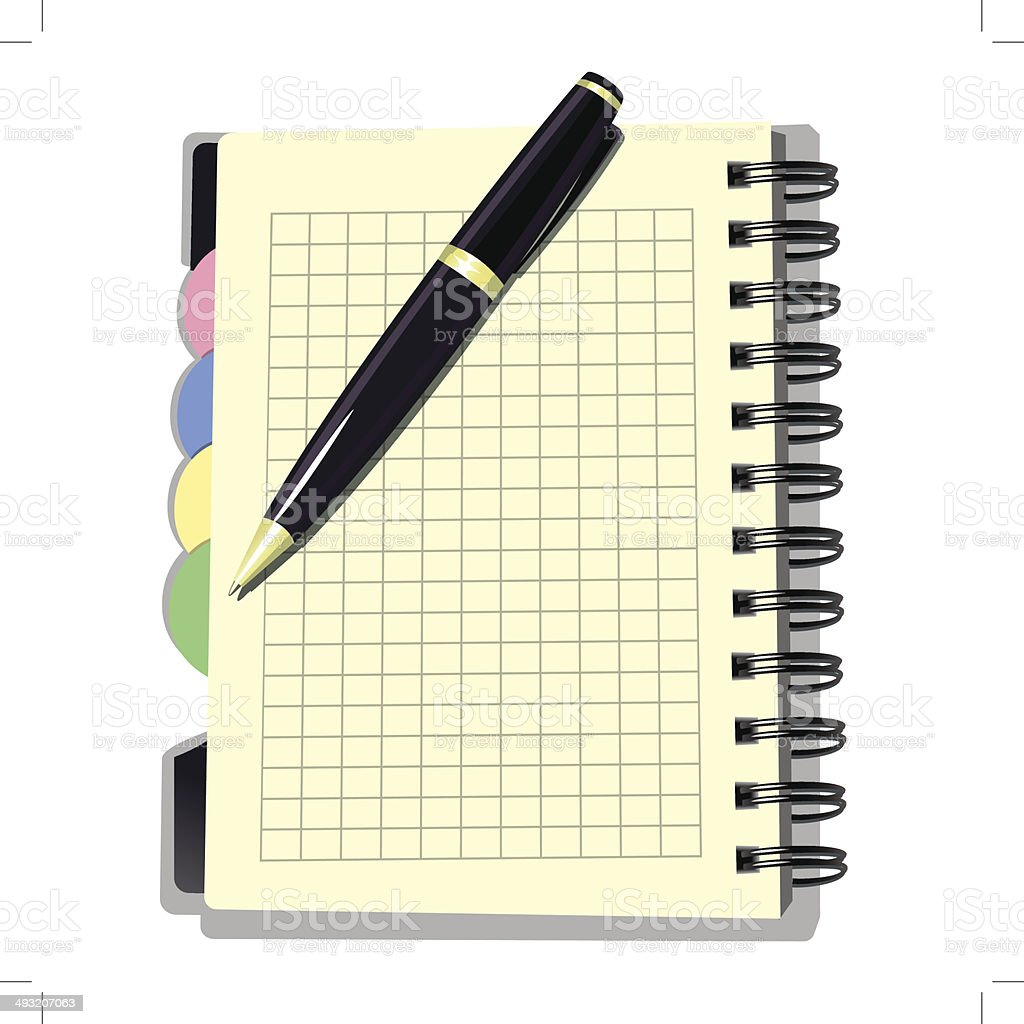 Appointment Book with Pen royalty-free stock vector art