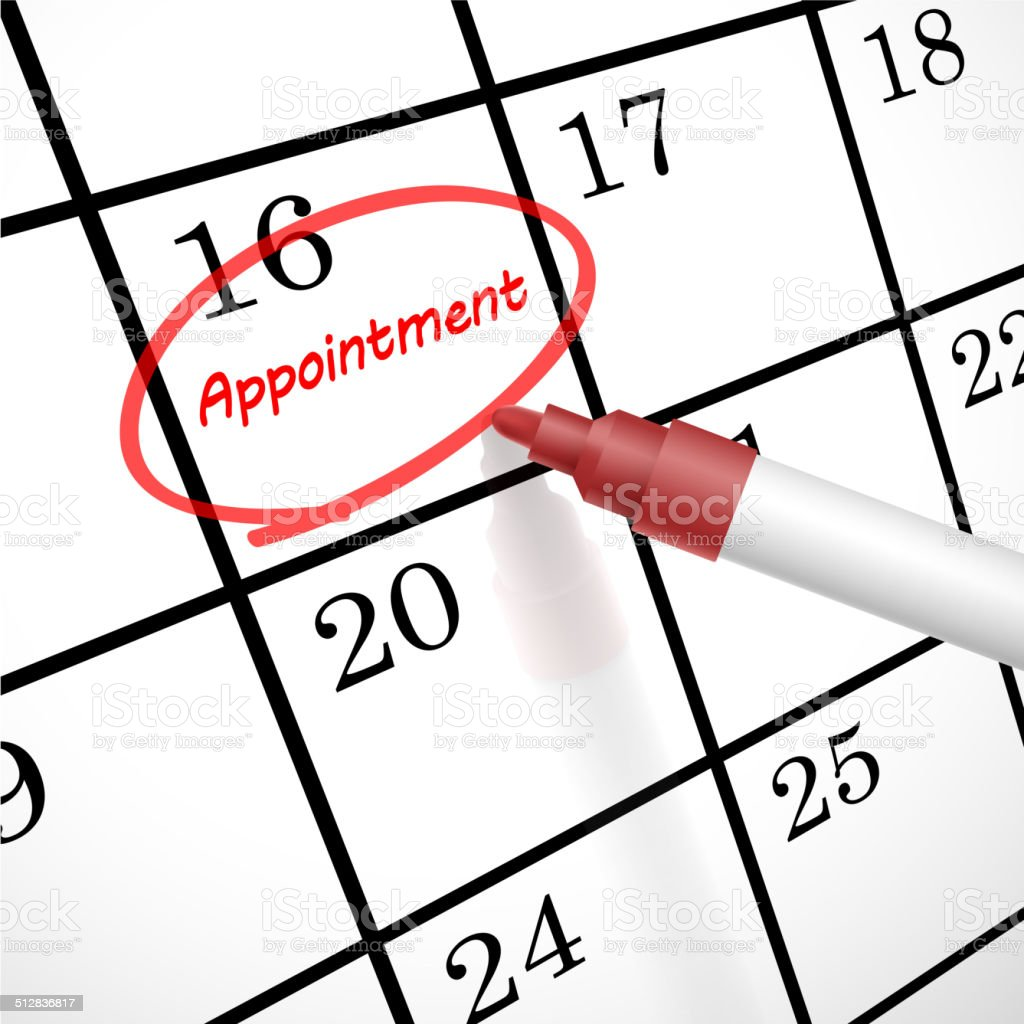 appointment word circle marked on a calendar vector art illustration