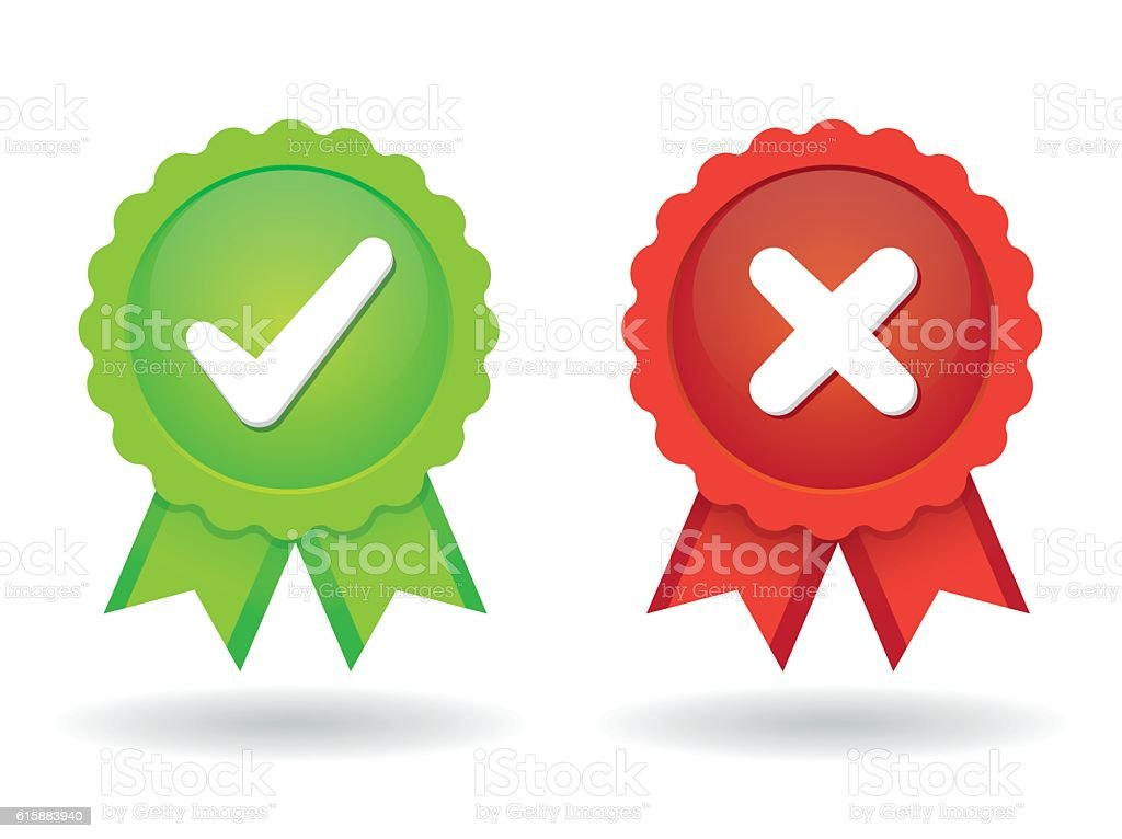Approved and Rejected icon vector art illustration