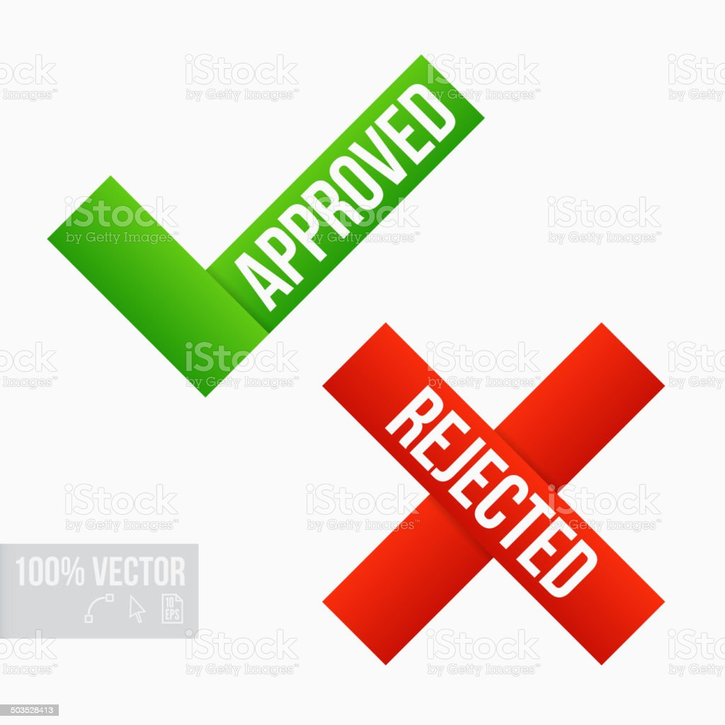 Approved and Rejected Marks vector art illustration