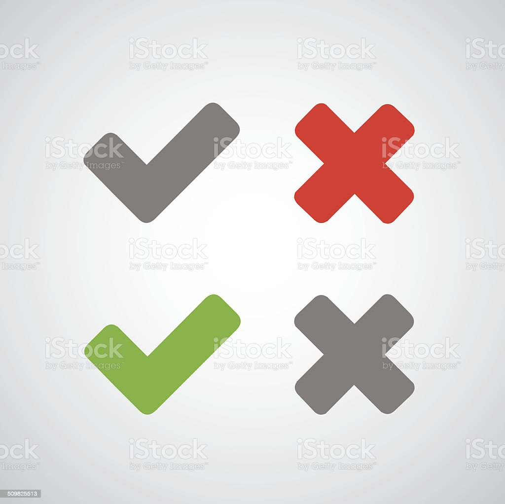 Approved and rejected vector art illustration