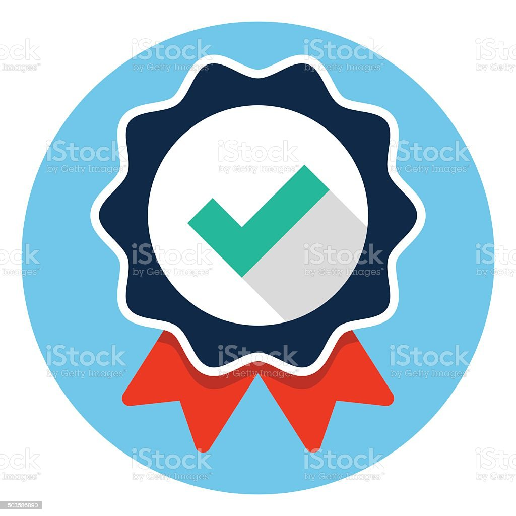 Approved certificate icon vector art illustration