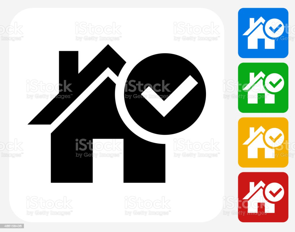 Approved House Icon Flat Graphic Design vector art illustration