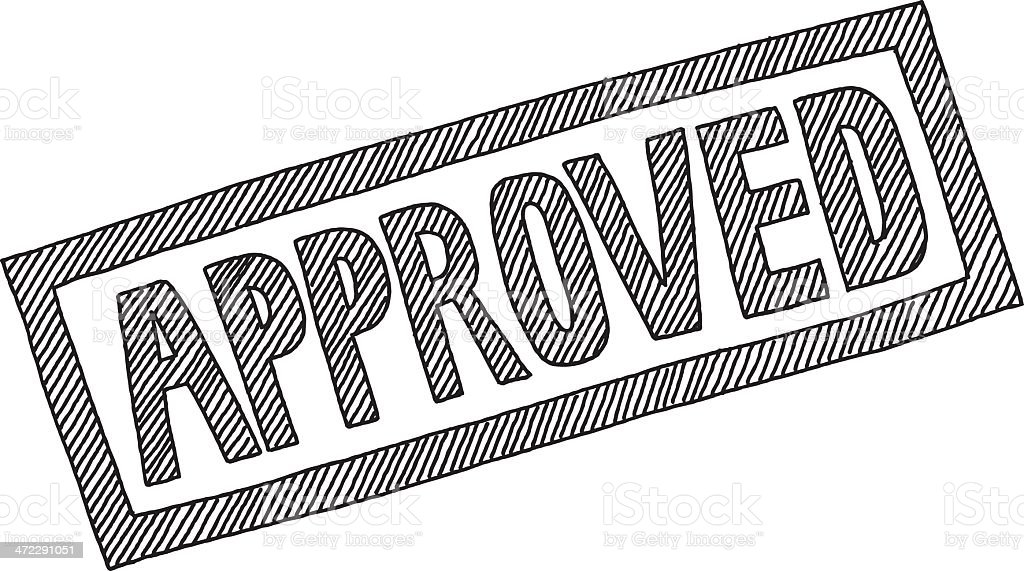 Approved Lettering Drawing royalty-free stock vector art