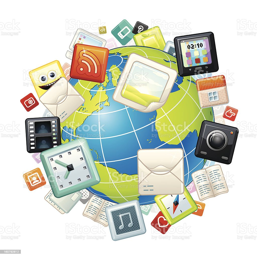 Apps and Web Icons Cloud Around Globe. royalty-free stock vector art