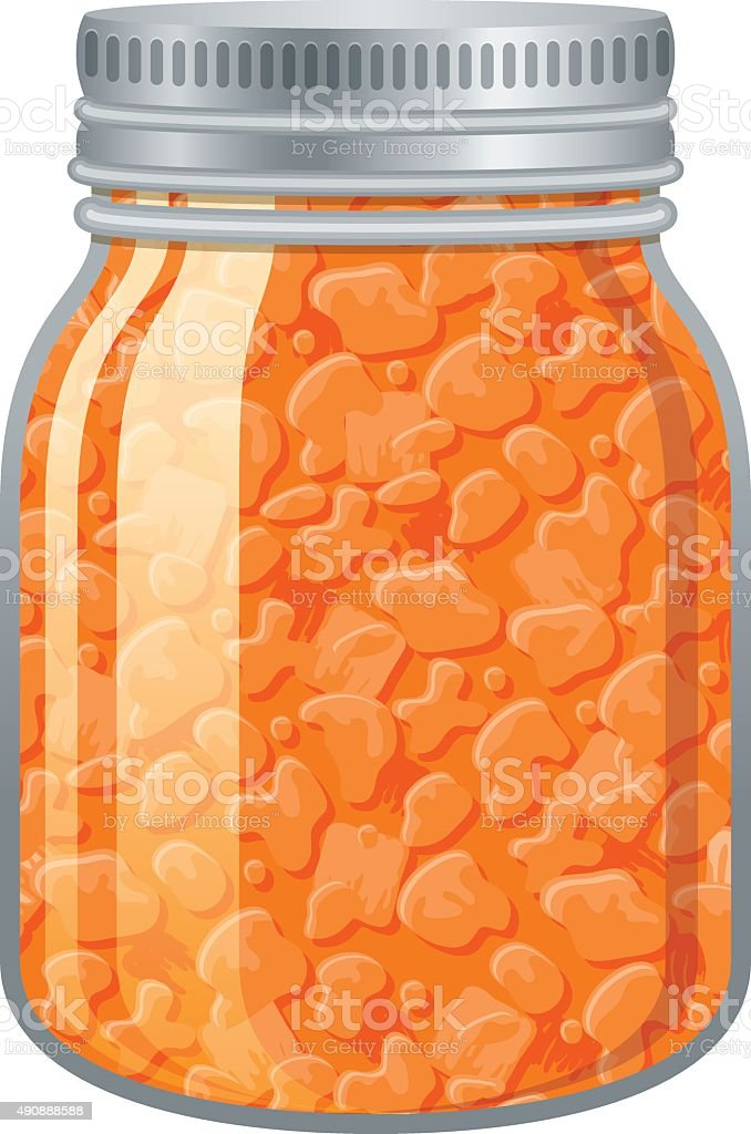 Apricot Jam in a glass jar vector art illustration