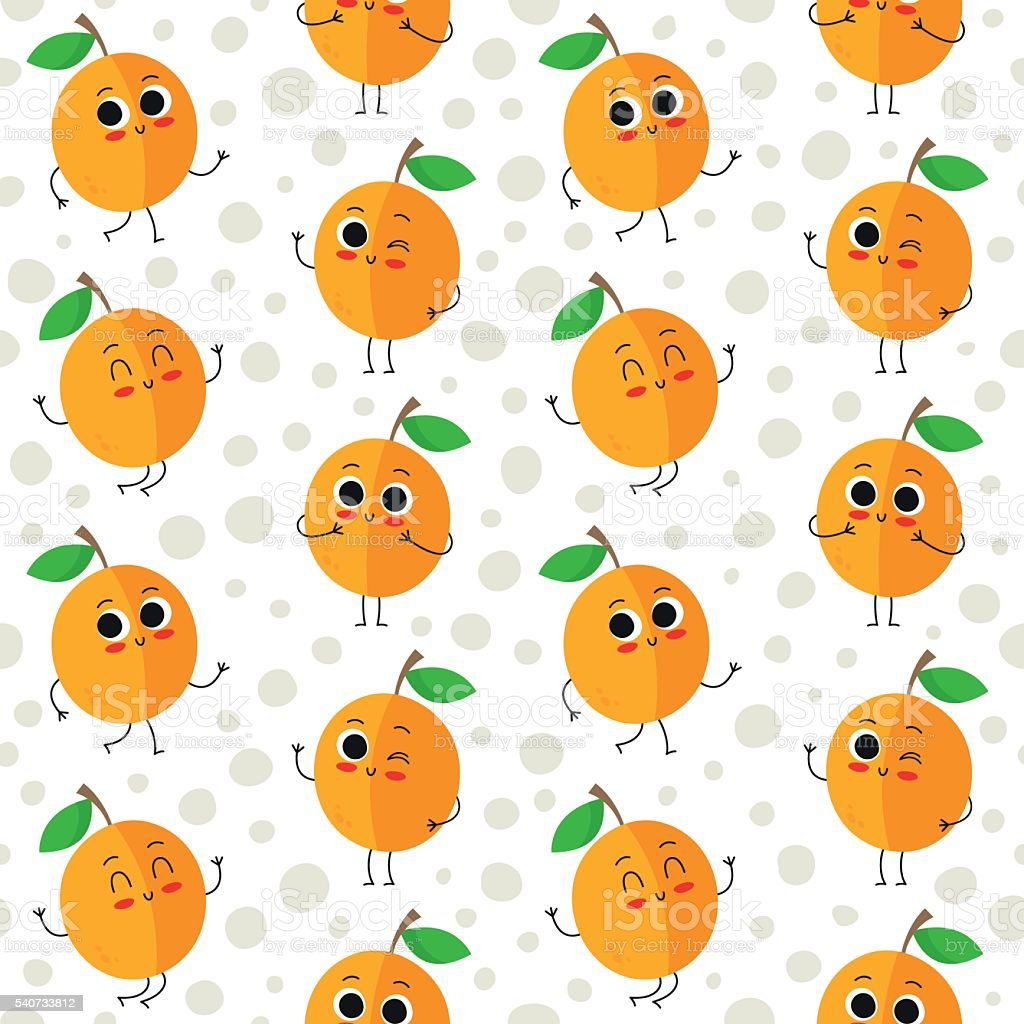 Apricots, vector seamless patternwith dots vector art illustration