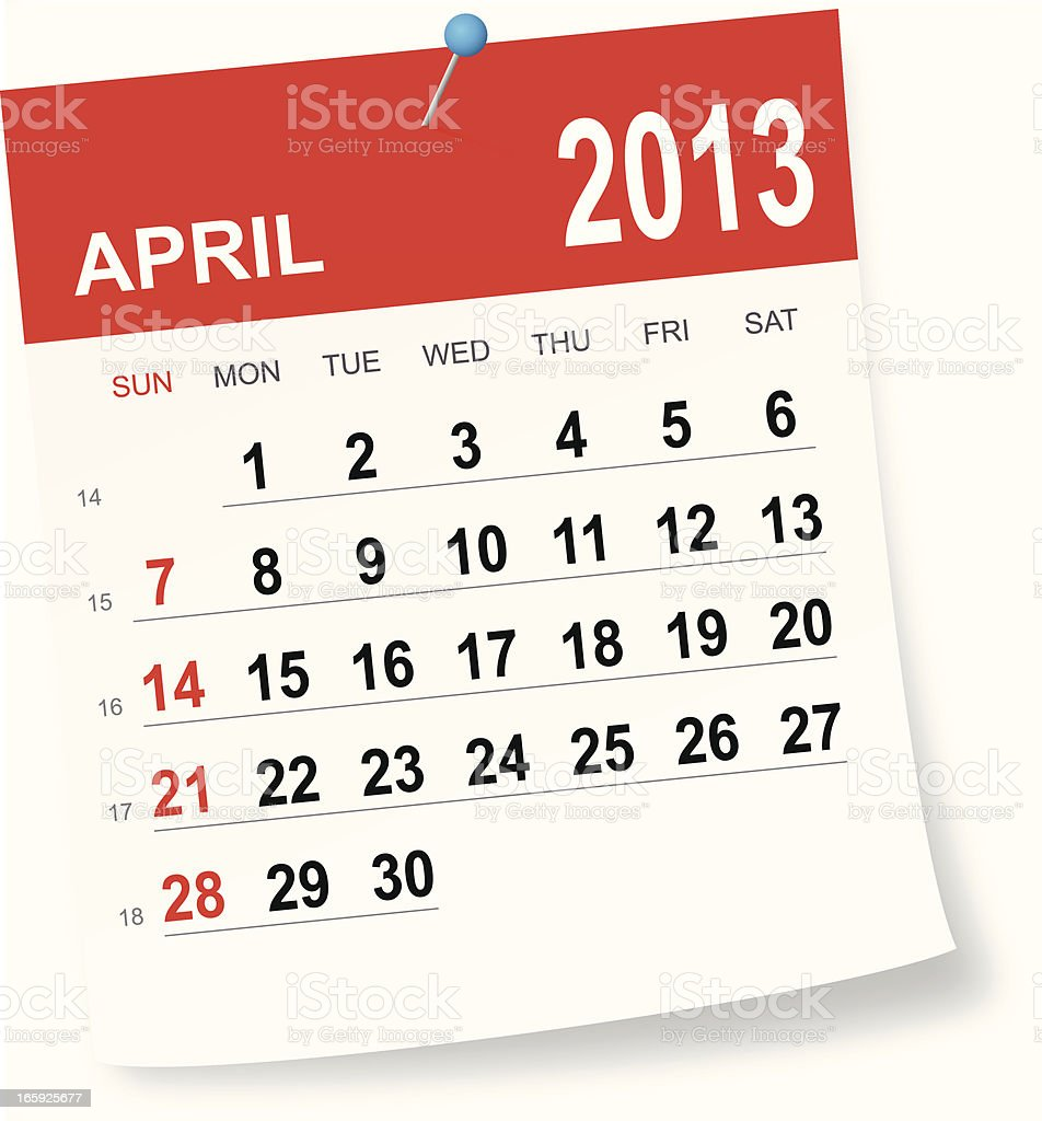 April 2013 calendar royalty-free stock vector art