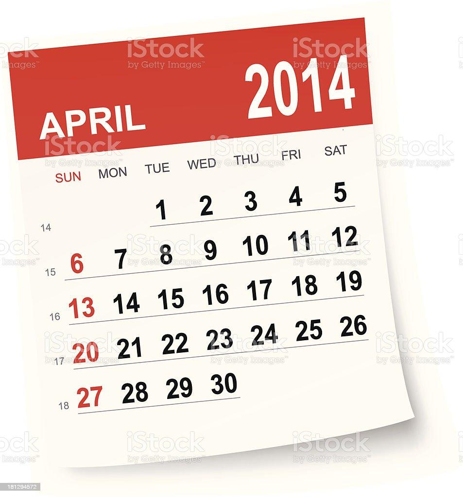 April 2014 calendar royalty-free stock vector art