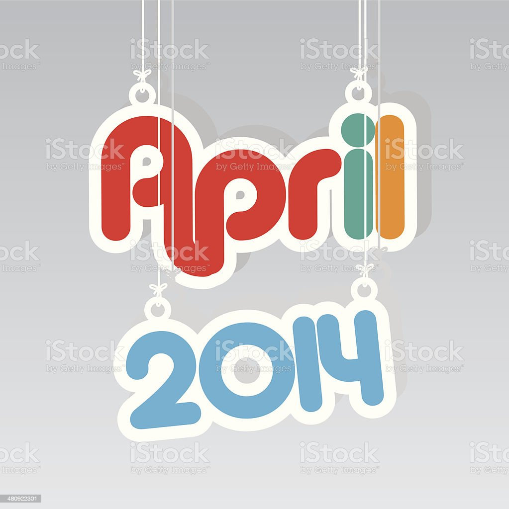 April 2014 Paper Hanging Sign.-eps10 vector royalty-free stock vector art