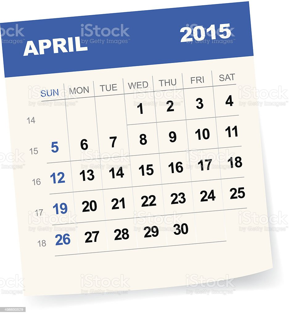 April 2015 Calendar vector art illustration