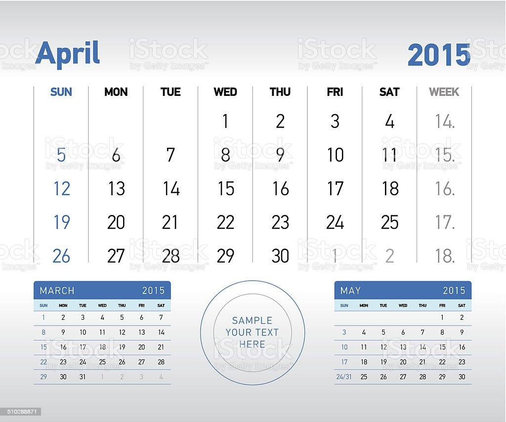 April 2015 Desk Calendar vector art illustration