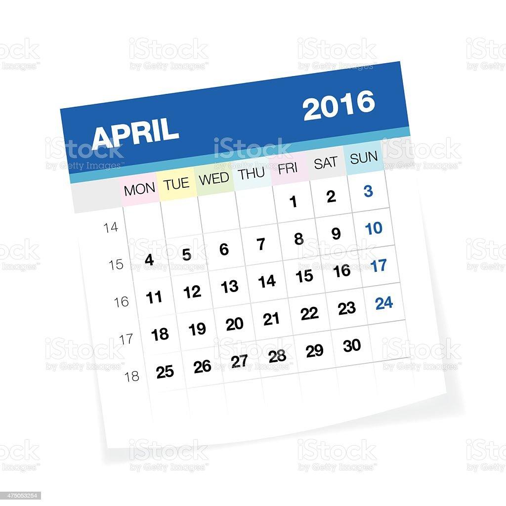 April 2016 European Calendar vector art illustration