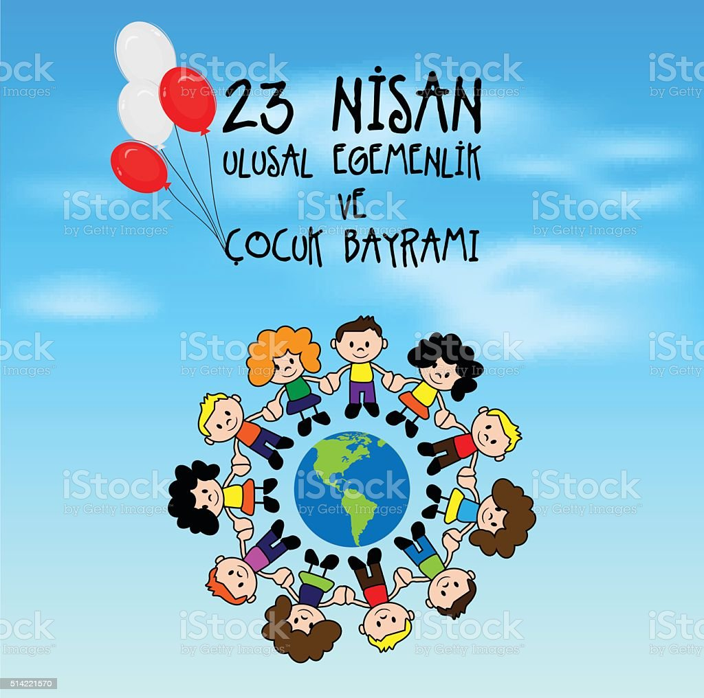 April 23 National Sovereignty and Children's Day vector art illustration