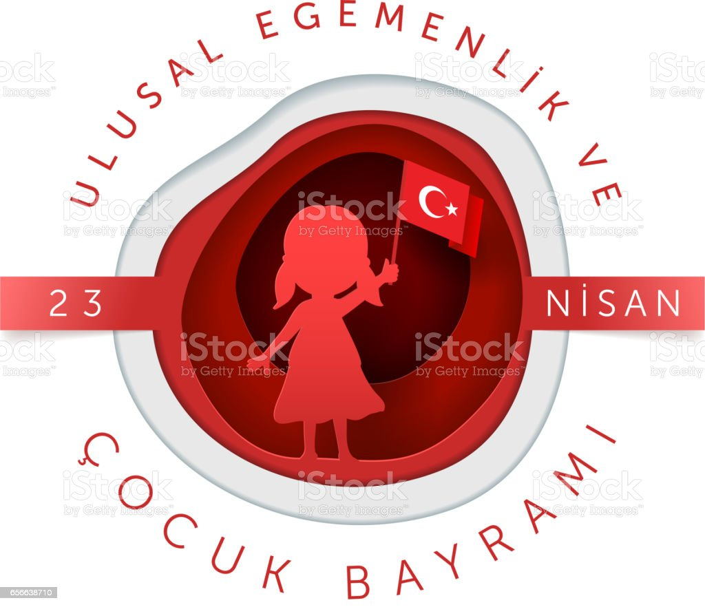 April 23 Turkish National Sovereignty and Children Day vector art illustration