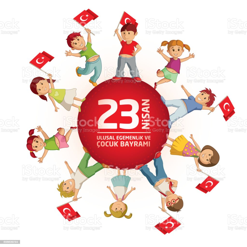 April 23 Turkish National Sovereignty and Childrens Day vector art illustration