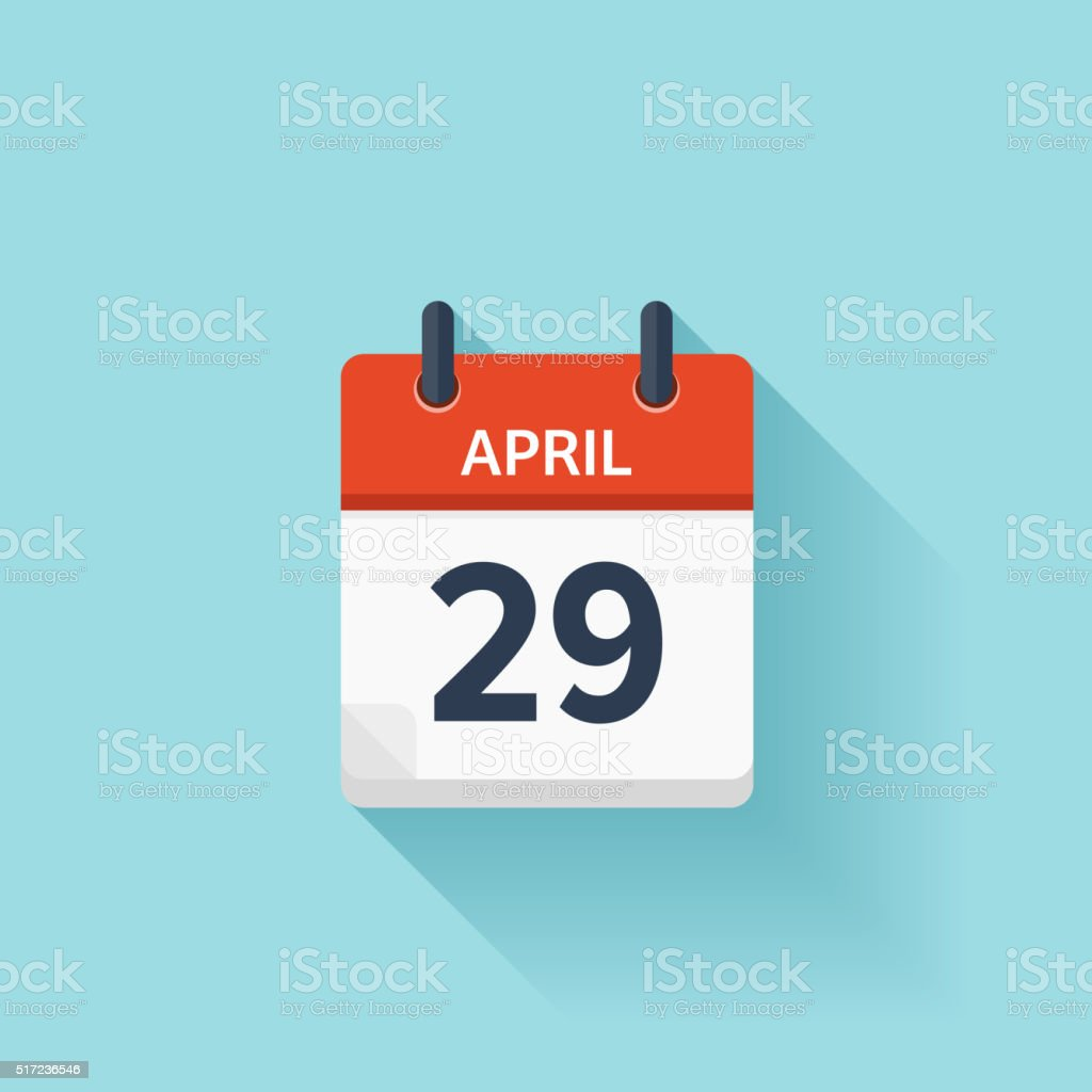 April 29. Vector flat daily calendar icon. Date and time vector art illustration