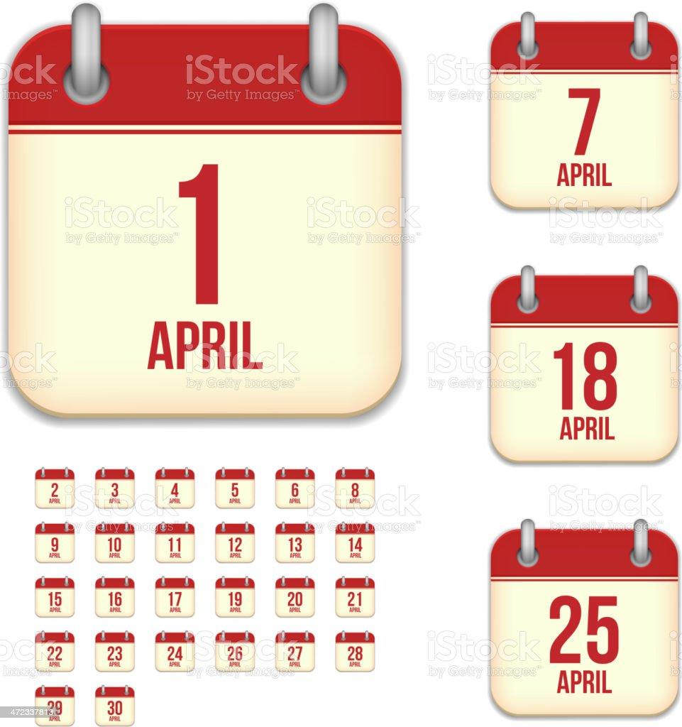 April days. Vector calendar icons vector art illustration
