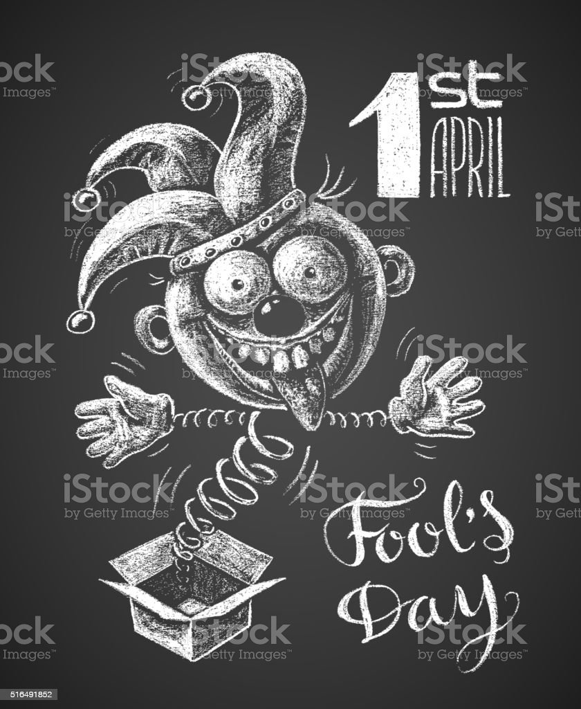 April Fool drawn on chalkboard vector art illustration