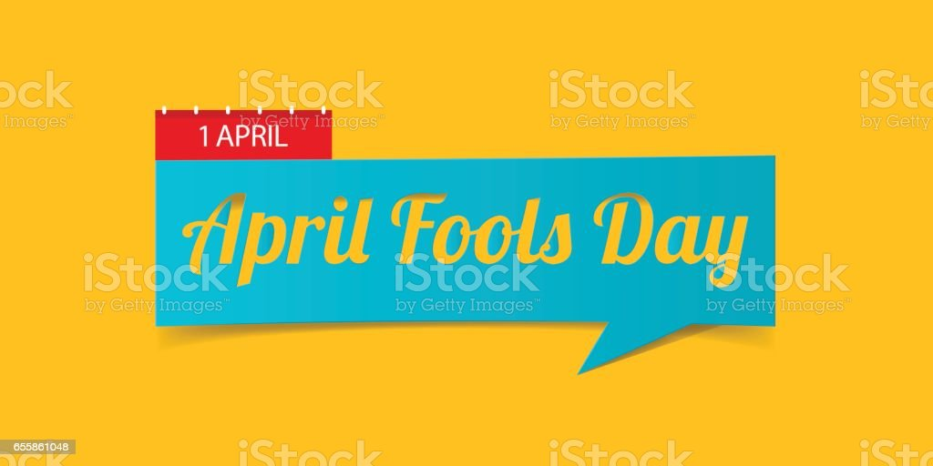 April Fools Day banner isolated on yellow background. Banner design template in paper cutting art style. vector art illustration