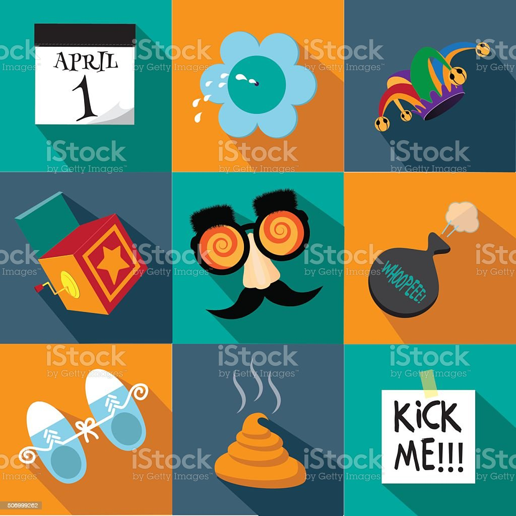 April Fools Day flat design icon set vector art illustration