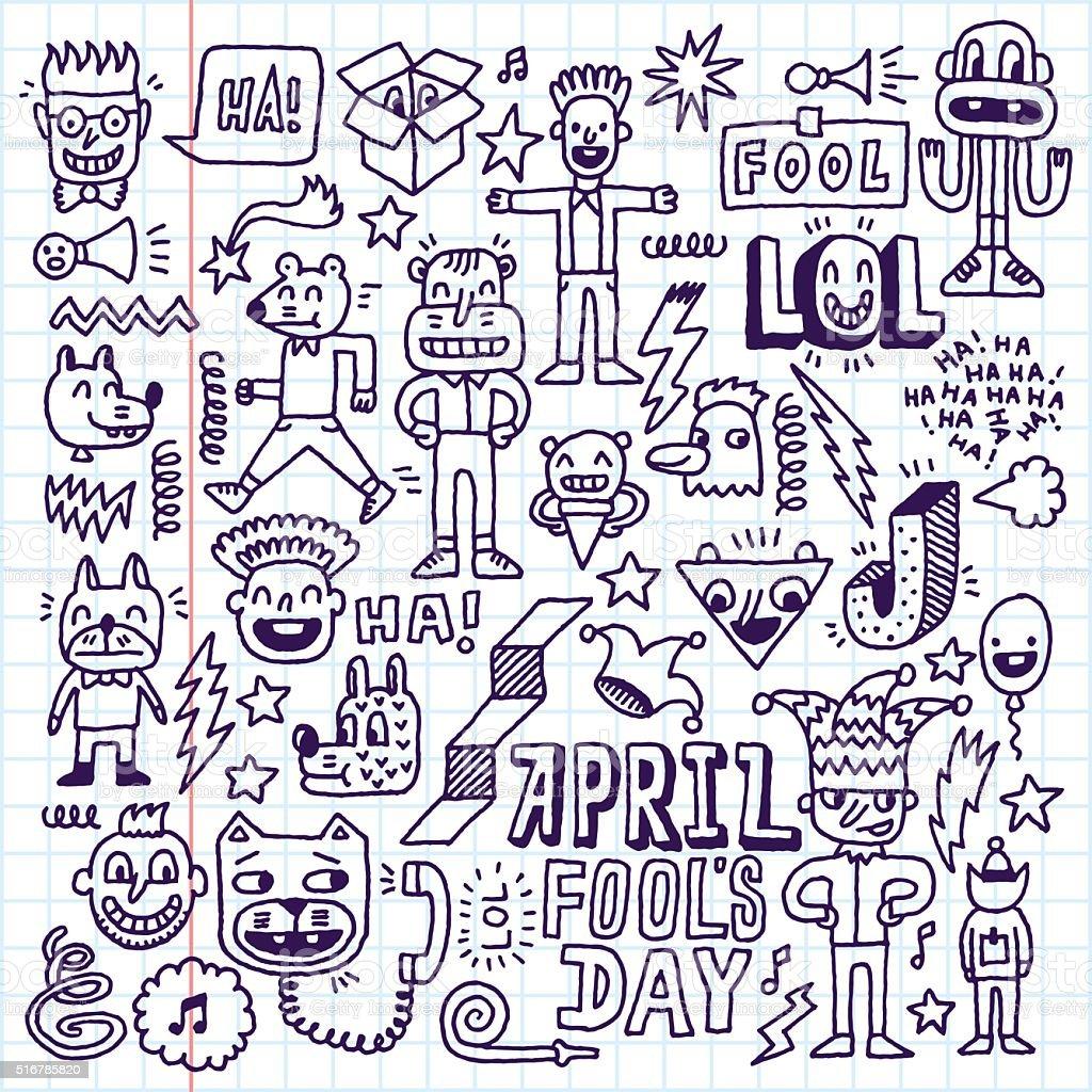 April fools day funny doodle set 1. Vector illustration. vector art illustration