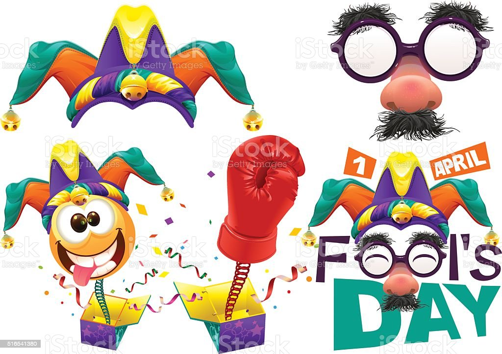 April Fools Day lettering text for greeting card vector art illustration