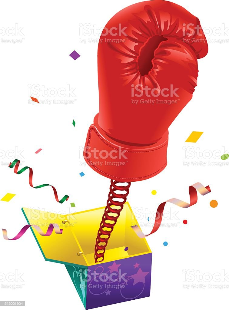April Fools day. Red boxing glove. April Fools joke vector art illustration