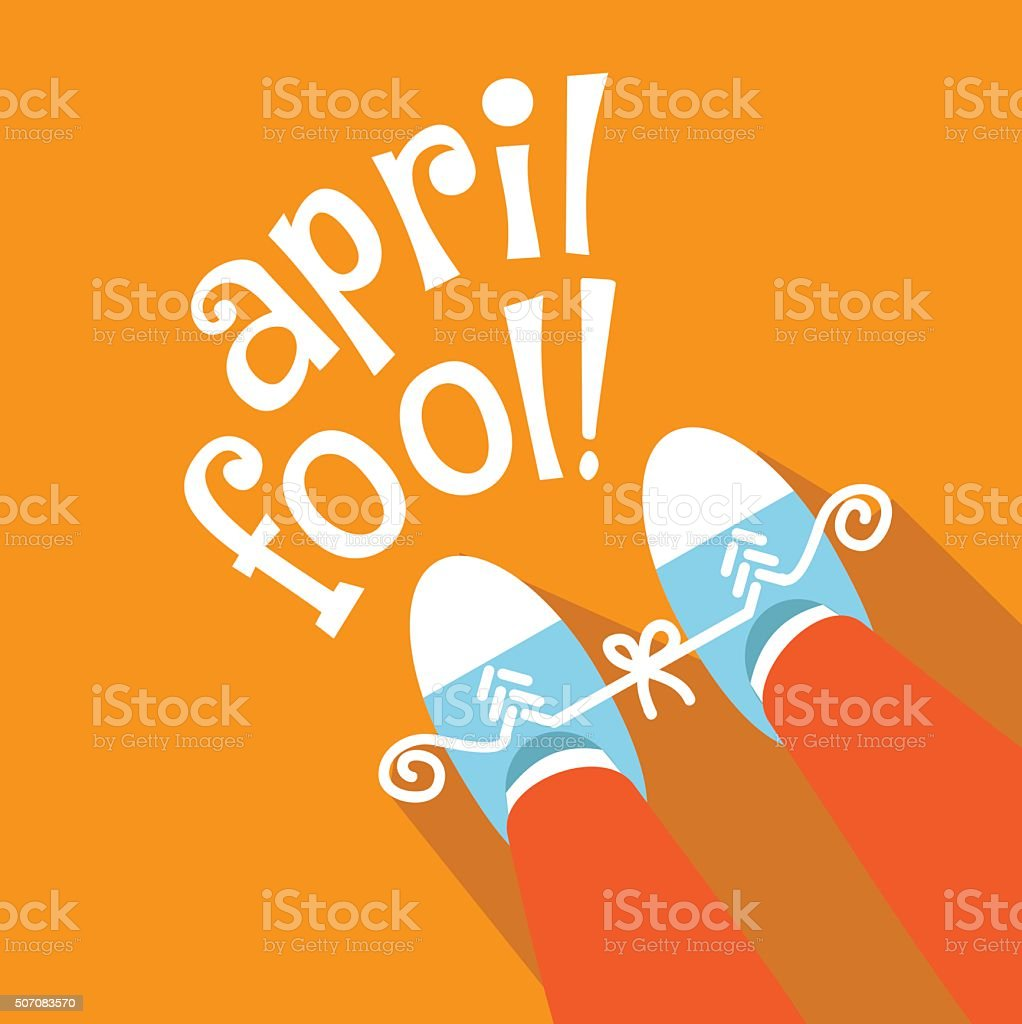 April Fools Day tied sneakers practical joke flat design vector art illustration