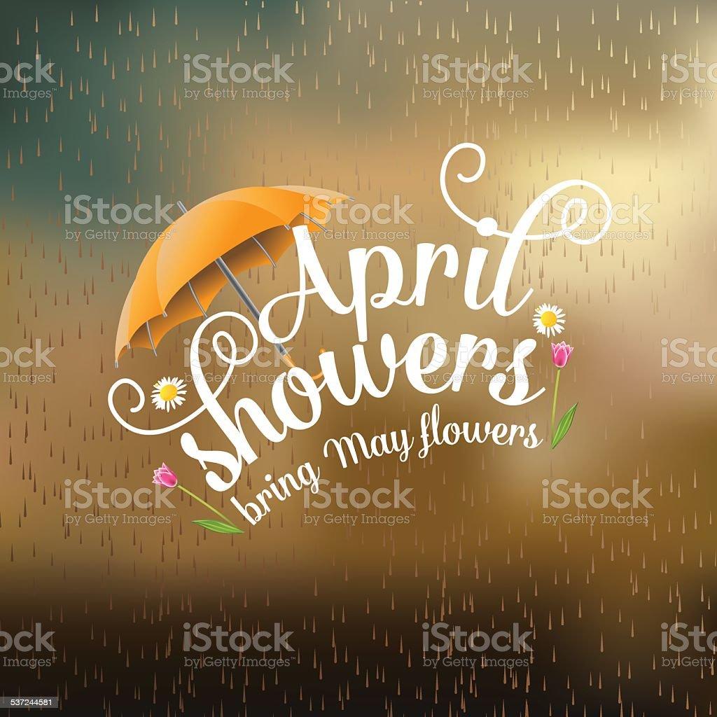 April showers bring May flowers design vector art illustration