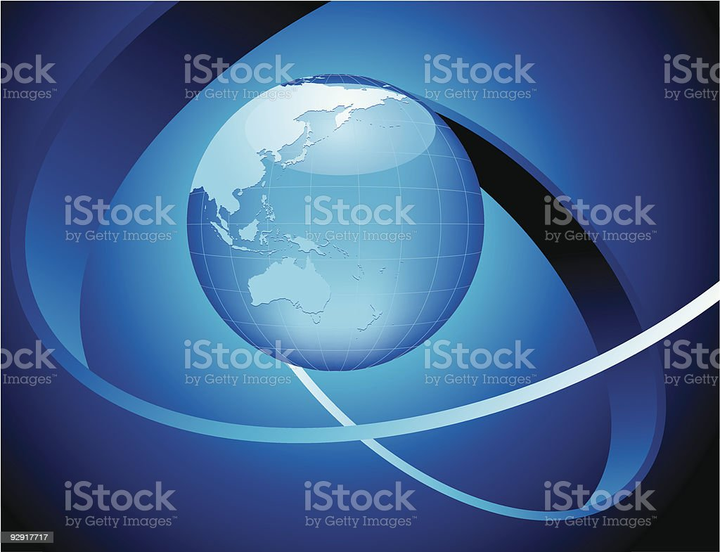 Aqua blue globe (vector & jpeg) vector art illustration