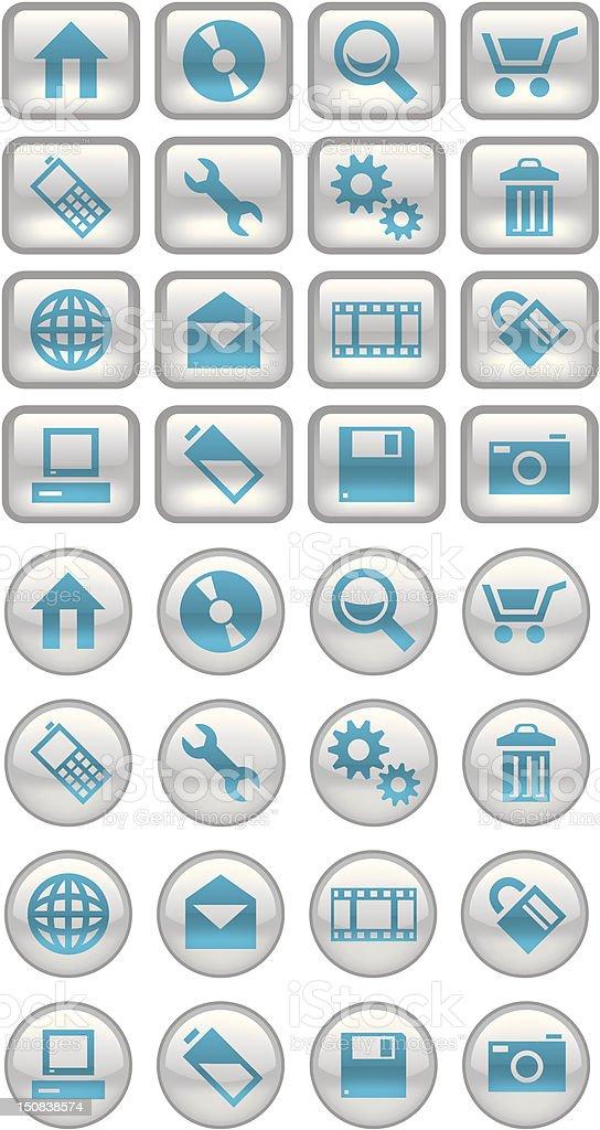 Aqua Icon Set royalty-free stock vector art
