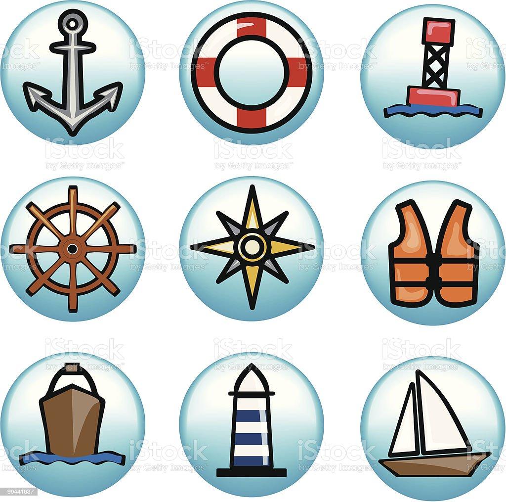 Aqua Icons vector art illustration