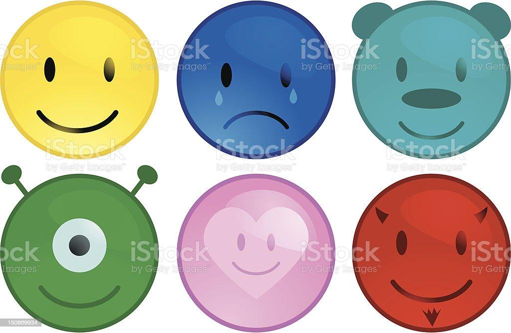 Aqua Smiley Buttons royalty-free stock vector art